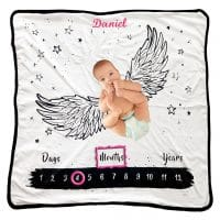 Personalized milestone blanket – Wings
