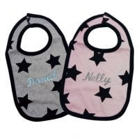 Personalized black stars bib