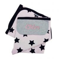 Black stars personalized blanket